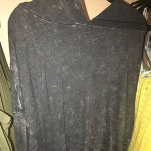 black/gray hoodie with small lace up sides